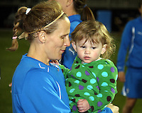 Kristine Lilly#13 and daughterafter the home opener for the Washington Freedom in a WPS match against the Boston Breakers on April 10 2010, at the Maryland Soccerplex, in Boyds, Maryland. Breakers won 2-1.