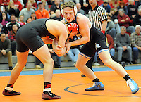 Council Rock South's Dylan Schwartz (right) battles for position with Boyertown's Zak Reck during the 160 pound match Saturday February 6, 2016 at the Upper Dublin High School in Fort Washington, Pennsylvania. Schwartz won by technical fall. (Photo by William Thomas Cain)