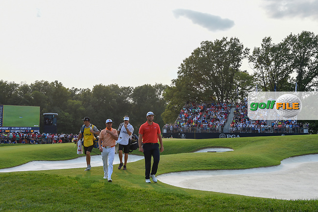 Rickie Fowler (USA) and Jon Rahm (ESP) depart 18 following 4th round of the 100th PGA Championship at Bellerive Country Club, St. Louis, Missouri. 8/12/2018.<br /> Picture: Golffile | Ken Murray<br /> <br /> All photo usage must carry mandatory copyright credit (© Golffile | Ken Murray)