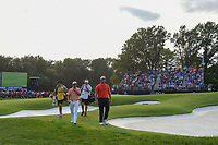 Rickie Fowler (USA) and Jon Rahm (ESP) depart 18 following 4th round of the 100th PGA Championship at Bellerive Country Club, St. Louis, Missouri. 8/12/2018.<br /> Picture: Golffile | Ken Murray<br /> <br /> All photo usage must carry mandatory copyright credit (&copy; Golffile | Ken Murray)