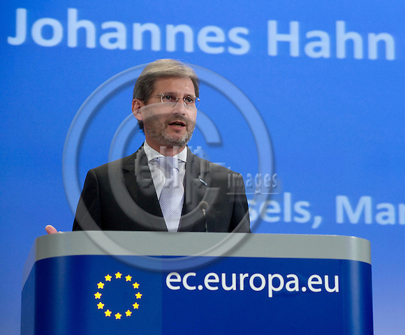 Brussels-Belgium - March 31, 2010 -- Johannes HAHN, European Commissioner from Austria and in charge of Regional Policy, during a press conference in the HQ of the EC -- Photo: Horst Wagner / eup-images