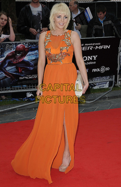 Lydia Rose Bright.The 'The Amazing Spider-Man' UK film premiere, Odeon Leicester Square cinema, London, England..June 18th, 2012.full length orange sleeveless sheer dress gold sequins sequined clutch bag white slit split.CAP/CAN.©Can Nguyen/Capital Pictures.