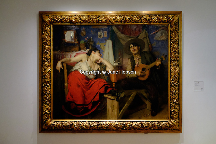 Lisbon, Portugal. 21.03.2015. O Fado, oil on canvas, by Jose Malhoa, painted in 1910, in the Museu do Fado, in the Alfama district of Lisbon. © Jane Hobson.