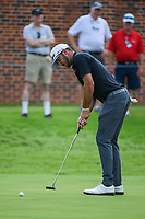 Max Homa (USA) watches his putt on 16 during round 1 of the 2019 Charles Schwab Challenge, Colonial Country Club, Ft. Worth, Texas,  USA. 5/23/2019.<br /> Picture: Golffile | Ken Murray<br /> <br /> All photo usage must carry mandatory copyright credit (© Golffile | Ken Murray)
