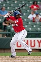 Round Rock Express outfielder Joey Butler #16 at bat during the Pacific Coast League baseball game against the Iowa Cubs on April 15, 2012 at the Dell Diamond in Round Rock, Texas. The Express beat the Cubs 11-10 in 13 innings. (Andrew Woolley / Four Seam Images).