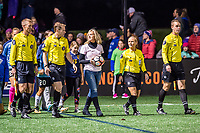 Boston, MA - Saturday September 30, 2017: Game officials enter the field during a regular season National Women's Soccer League (NWSL) match between the Boston Breakers and Sky Blue FC at Jordan Field.
