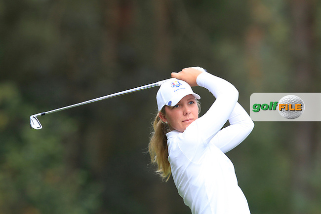 Linnea Strom (SWE) on the 3rd tee of the Mixed Fourballs during the 2014 JUNIOR RYDER CUP at the Blairgowrie Golf Club, Perthshire, Scotland. <br /> Picture:  Thos Caffrey / www.golffile.ie