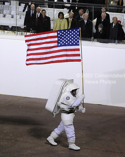 Washington, DC - January 20, 2009 -- Astronaut Rex Waldheim pauses before the Presidential reviewing stand during the 56th Inaugural Parade on Tuesday, January 20, 2009. He is wearing a prototype of NASA's next generation spacesuit..Mandatory Credit: Bill Ingalls - NASA via CNP
