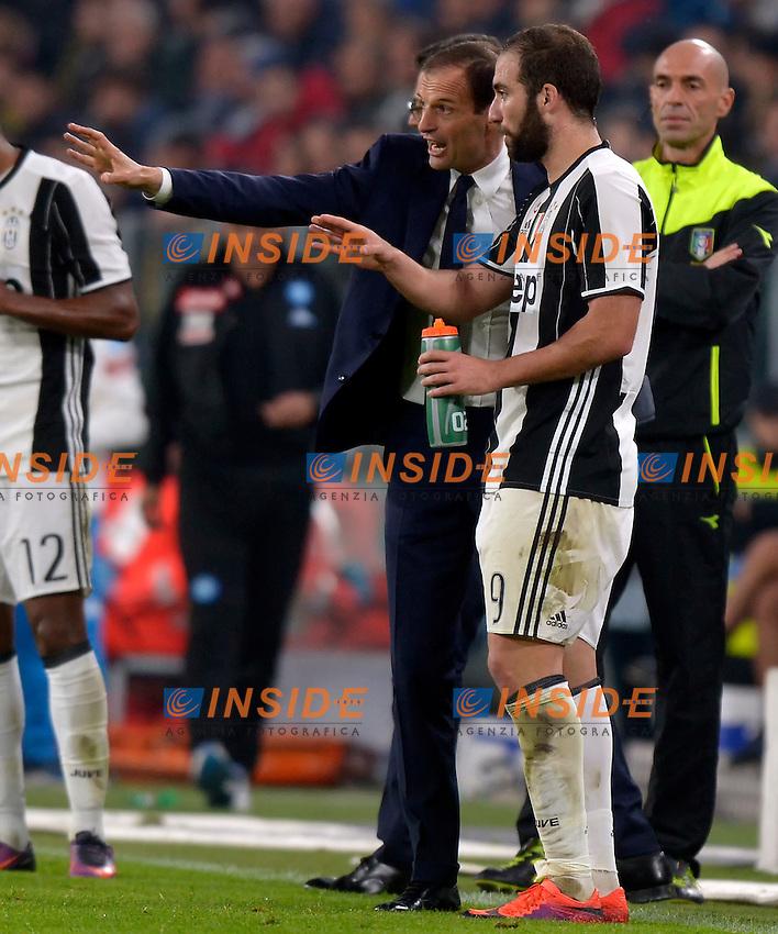 Massimiliano Allegri, Gonzalo Higuain Juventus <br /> Torino 29-10-2016 Juventus Stadium Football Calcio Serie A 2016/2017 Juventus - Napoli . Foto Filippo Alfero Insidefoto