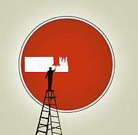 Man on ladder painting over no entry sign
