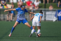 Allston, MA - Saturday August 19, 2017: Amanda Frisbie, Kristen Edmonds during a regular season National Women's Soccer League (NWSL) match between the Boston Breakers and the Orlando Pride at Jordan Field.
