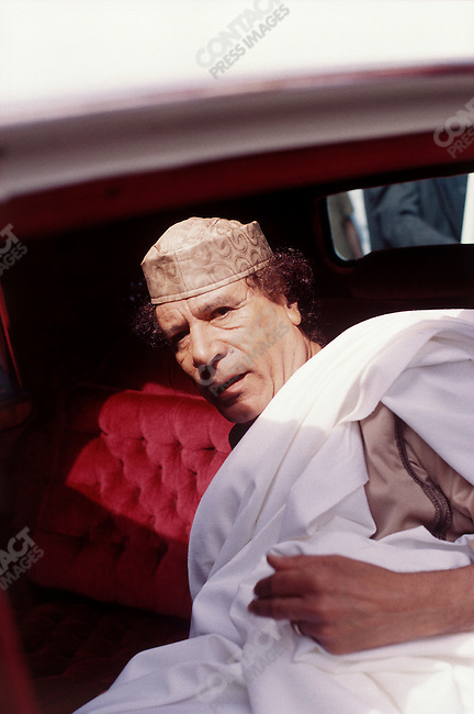 Muammar el-Qaddafi, leader of Libya, arrives at the African Unity Summit. Lome, Togo, July 2000.