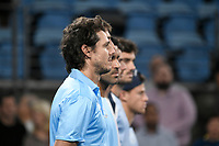 8th January 2020; Sydney Olympic Park Tennis Centre, Sydney, New South Wales, Australia; ATP Cup Australia, Sydney, Day 6; Croatia versus Argentina; Marin Cilic of Croatia versus Guido Pella of Argentina; Team Argentina line up for the national anthems before play - Editorial Use