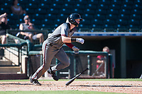 Salt River Rafters first baseman Pavin Smith (44), of the Arizona Diamondbacks organization, starts down the first base line during an Arizona Fall League game against the Surprise Saguaros on October 9, 2018 at Surprise Stadium in Surprise, Arizona. The Rafters defeated the Saguaros 10-8. (Zachary Lucy/Four Seam Images)