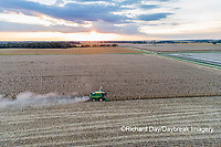 63801-12514 Harvesting corn in fall at sunset-aerial  Marion Co. IL