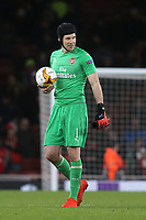 Petr Cech of Arsenal, formerly of Rennes, walks off the pitch at the end of the game with the match ball during Arsenal vs Rennes, UEFA Europa League Football at the Emirates Stadium on 14th March 2019