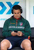 30th September 2017, Welford Road, Leicester, England; Aviva Premiership rugby, Leicester Tigers versus Exeter Chiefs;  Tigers Matt Toomua takes some quiet time in the pitch side dug-out before starting the match warm-up session