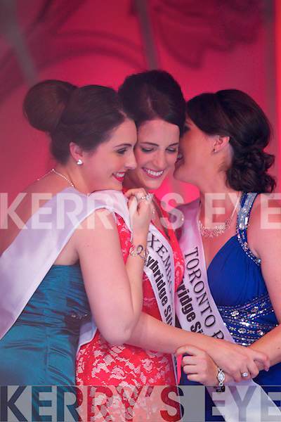 Luxembourg Rose Nicola McEvoy just after being announced the 2012 Rose of Tralee. Pictured also is the Sydney Rose Sophia Fitzgerald on left and Toronto Rose Maire Dineen on right.