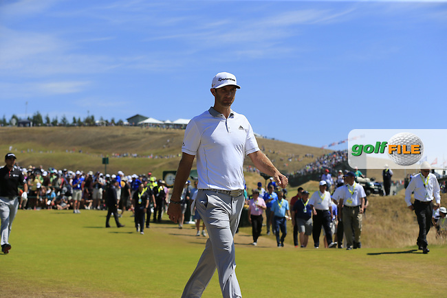 Dustin JOHNSON (USA) walks off the 1st tee to start his match during Sunday's Final Round of the 2015 U.S. Open 115th National Championship held at Chambers Bay, Seattle, Washington, USA. 6/21/2015.<br /> Picture: Golffile | Eoin Clarke<br /> <br /> <br /> <br /> <br /> All photo usage must carry mandatory copyright credit (&copy; Golffile | Eoin Clarke)