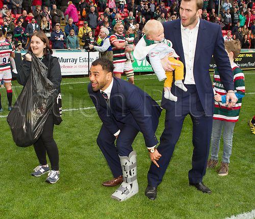 April 29th 2017, Welford Road Stadium, Leicester, England; Aviva Premier league rugby, Leicester Tigers versus Sale;  George McGuigan (Leicester Tigers) and family during the last home of the seasons team lap of honour of Welford Road