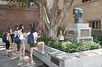 Incoming Occidental College students participate in Oxy Engage with the group LA Icons and tour the area near City Hall in downtown Los Angeles, on Aug. 24, 2016.<br /> Oxy Engage is a pre-orientation program that introduces incoming students to the vibrant city of Los Angeles. Upperclassmen facilitators lead trips to experience culture, film, food, nature, social justice, the urban environment, and much more.<br /> (Photo by Marc Campos, Occidental College Photographer)