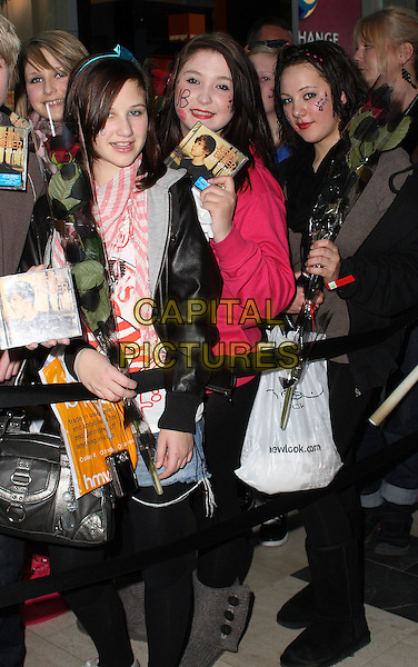 FANS waiting for Justin Bieber.Canadian Teen heart throb and singer Justin Bieber at a signing of his new CD at HMV Westfield Shopping Centre, London, England, UK,.January 18th 2010..line queue atmosphere full half length girls .CAP/JIL.©Jill Mayhew/Capital Pictures