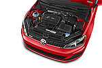 Car Stock 2015 Volkswagen GTI DSG 2 Door Hatchback Engine high angle detail view