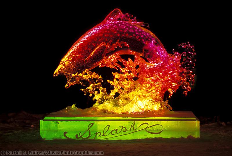 Splash, exhibition sculpture by Junichi Nakamura, World Ice Art Championships, Fairbanks Alaska.