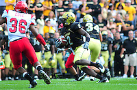 06 September 08: Colorado tailback Darrell Scott (2) carries the ball against Eastern Washington. The Colorado Buffaloes defeated the Eastern Washington Eagles 31-24 at Folsom Field in Boulder, Colorado. FOR EDITORIAL USE ONLY