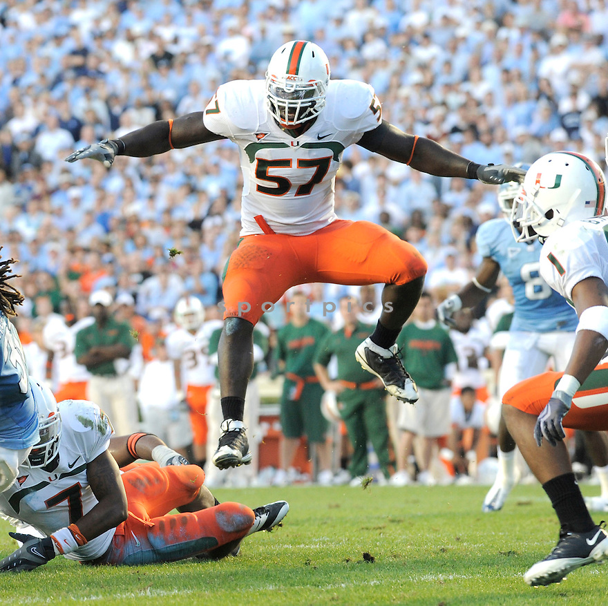 ALLEN BAILEY, of the Miami Hurricanes, in action during the Hurricanes game against the North Carolina Tarheels on November 14, 2009 in Chapel Hill, NC. North Carolina won 33-24.