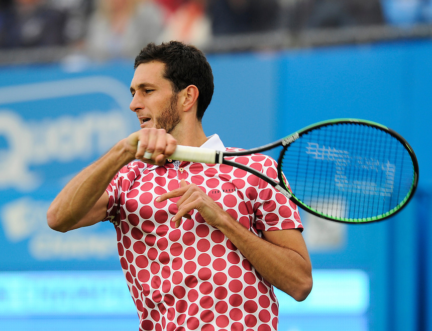 James Ward (GBR) in action today during his defeat by Milos Raonic (CAN) in their Men&rsquo;s Singles First Round match<br /> <br /> 7-5, 3-6, 2-6<br /> <br /> Photographer Ashley Western/CameraSport<br /> <br /> Tennis - ATP 500 World Tour - AEGON Championships- Day 1 - Monday 15th June 2015 - Queen's Club - London <br /> <br /> &copy; CameraSport - 43 Linden Ave. Countesthorpe. Leicester. England. LE8 5PG - Tel: +44 (0) 116 277 4147 - admin@camerasport.com - www.camerasport.com