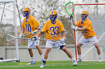 Los Angeles, CA 02-26-17 - Dietrich Von Kaenel (UCSB #10), Collin Dal Porto (UCSB #33) and Peter Brydon (UCSB #30) in action during the MCLA conference game between LMU and UC Santa Barbara.  Santa Barbara defeated LMU 15-0.