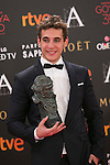 Miguel Herran poses with Best Novel Goya award during 30th Goya Awards ceremony in Madrid, Spain. February 06, 2016. (ALTERPHOTOS/Victor Blanco)
