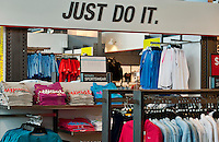 Nike branded merchandise at an outlet store.