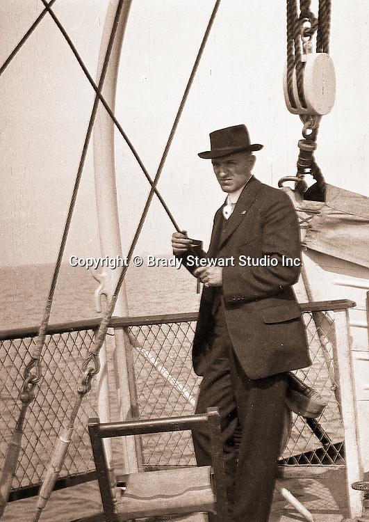 Niagara Falls, New York:  Brady Stewart on deck of the Dalhousie City Ferry in route to Queenston Ontario - 1914