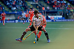 The Hague, Netherlands, June 06: Florian Fuchs #23 of Germany defends the ball during the field hockey group match (Men - Group B) between Germany and The Netherlands on June 6, 2014 during the World Cup 2014 at Kyocera Stadium in The Hague, Netherlands. Final score 0-1 (0-1) (Photo by Dirk Markgraf / www.265-images.com) *** Local caption ***