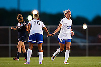 Boston Breakers forward Kyah Simon (17) celebrates scoring with forward Lianne Sanderson (10). Sky Blue FC defeated the Boston Breakers 5-1 during a National Women's Soccer League (NWSL) match at Yurcak Field in Piscataway, NJ, on June 1, 2013.