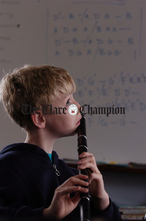 Flute student Conor Arkins in class during the Ennis Trad Festival. Photograph by John Kelly.