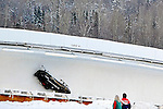 18 December 2010: Shauna Rohbock slides out of control during her second run in her 2-man bobsled for the USA, at the Viessmann FIBT World Cup Bobsled Championships on Mount Van Hoevenberg in Lake Placid, New York, USA. Neither her, not her brakeman Valerie Fleming were hurt. Mandatory Credit: Ed Wolfstein Photo