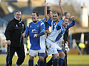 08/03/2008    Copyright Pic: James Stewart.File Name : sct_jspa20_qots_v_dundee.STEPHEN DOBBIE, JAMIE MCQUILKEN AND STEVE TOSH CELEBRATE AT THE END OF THE GAME.James Stewart Photo Agency 19 Carronlea Drive, Falkirk. FK2 8DN      Vat Reg No. 607 6932 25.Studio      : +44 (0)1324 611191 .Mobile      : +44 (0)7721 416997.E-mail  :  jim@jspa.co.uk.If you require further information then contact Jim Stewart on any of the numbers above........