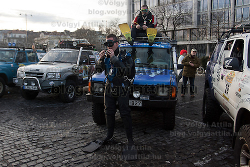 Competitors dressed in funny costumes participate the start of Budapest-Bamako Rally charity race also called as the Wacky Race to Africa that starts in Budapest, Hungary on January 15, 2011. ATTILA VOLGYI