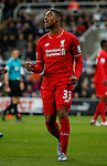 Jordon Ibe of Liverpool reacts after missing a chance to score - English Premier League - Newcastle Utd vs Liverpool - St James' Park Stadium - Newcastle Upon Tyne - England - 6th December 2015 - Picture Simon Bellis/Sportimage