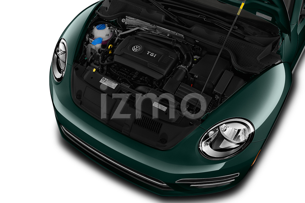 Car Stock 2017 Volkswagen Beetle S 2 Door Convertible Engine  high angle detail view