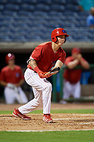 Clearwater Threshers center fielder Mickey Moniak (2) follows through on a swing during a game against the Jupiter Hammerheads on April 12, 2018 at Spectrum Field in Clearwater, Florida.  Jupiter defeated Clearwater 8-4.  (Mike Janes/Four Seam Images)