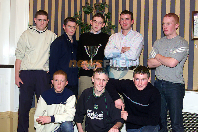 Under 16's Champions at the St. Colmcilles Presentation night in the Europa Hotel. Back Row L/R, Paul Martin, Johnny holcroft, Sean Collier, evan kelly and Brian O'Donoghue. Front Row, Mark Farrell, Shane Cassidy and Mark Magill..Picture: Paul Mohan/Newsfile