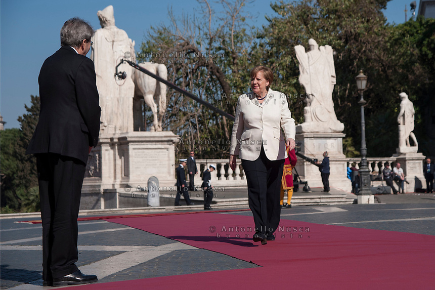 Rome, Italy, March 25,2017. German Chancellor Angela Merkel arrives for an EU summit at the Palazzo dei Conservatori in Rome. EU leaders gather in Rome on Saturday to celebrate the 60th anniversary of the EU's founding treaty.