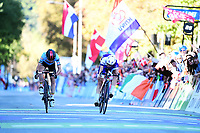 Picture by Alex Whitehead/SWpix.com - 28/09/2018 - Cycling 2018 Road Cycling World Championships Innsbruck-Tirol, Austria - Mens U23 Road Race -  Bjorg Lambrecht of Belgium and Jaakko Hanninen of Finland.