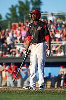 Batavia Muckdogs center fielder Thomas Jones (49) at bat during a game against the Auburn Doubledays on July 4, 2017 at Dwyer Stadium in Batavia, New York.  Batavia defeated Auburn 3-2.  (Mike Janes/Four Seam Images)