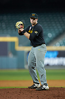Missouri Tigers relief pitcher Trey Dillard (47) looks to his catcher for the sign against the Texas Longhorns in game eight of the 2020 Shriners Hospitals for Children College Classic at Minute Maid Park on March 1, 2020 in Houston, Texas. The Tigers defeated the Longhorns 9-8. (Brian Westerholt/Four Seam Images)