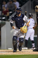 Scranton/Wilkes-Barre RailRiders catcher Kyle Higashioka (38) on defense against the Charlotte Knights at BB&T BallPark on April 12, 2018 in Charlotte, North Carolina.  The RailRiders defeated the Knights 11-1.  (Brian Westerholt/Four Seam Images)